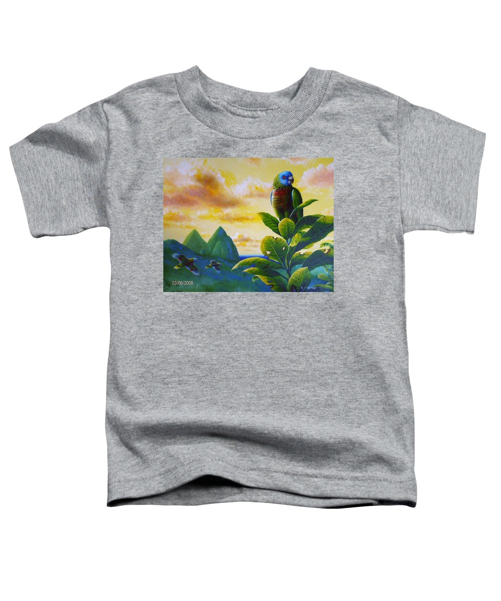 Chris Cox Toddler T-Shirt featuring the painting Morning Glory - St. Lucia Parrots by Christopher Cox