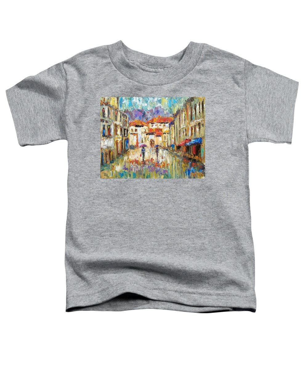 Landscape Toddler T-Shirt featuring the painting Morning Rain by Debra Hurd