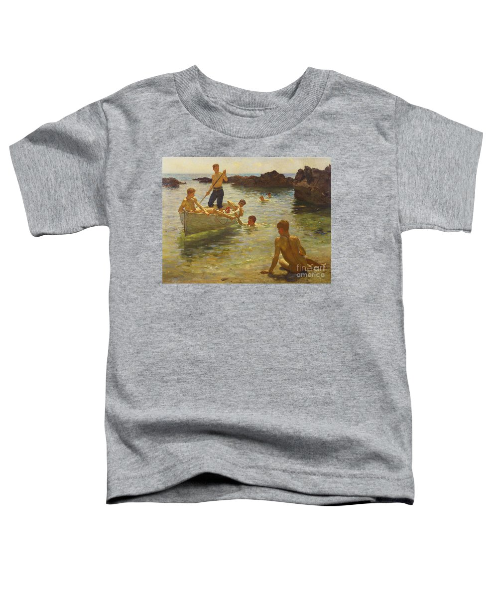 Swimming Toddler T-Shirt featuring the painting Morning Splendour by Henry Scott Tuke