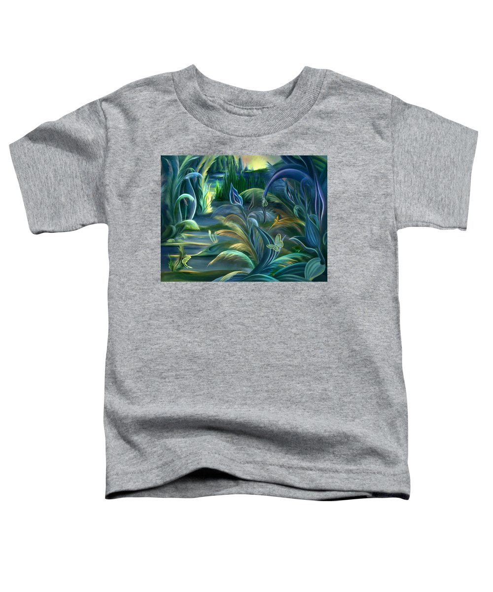 Mural Toddler T-Shirt featuring the painting Mural Insects Of Enchanted Stream by Nancy Griswold