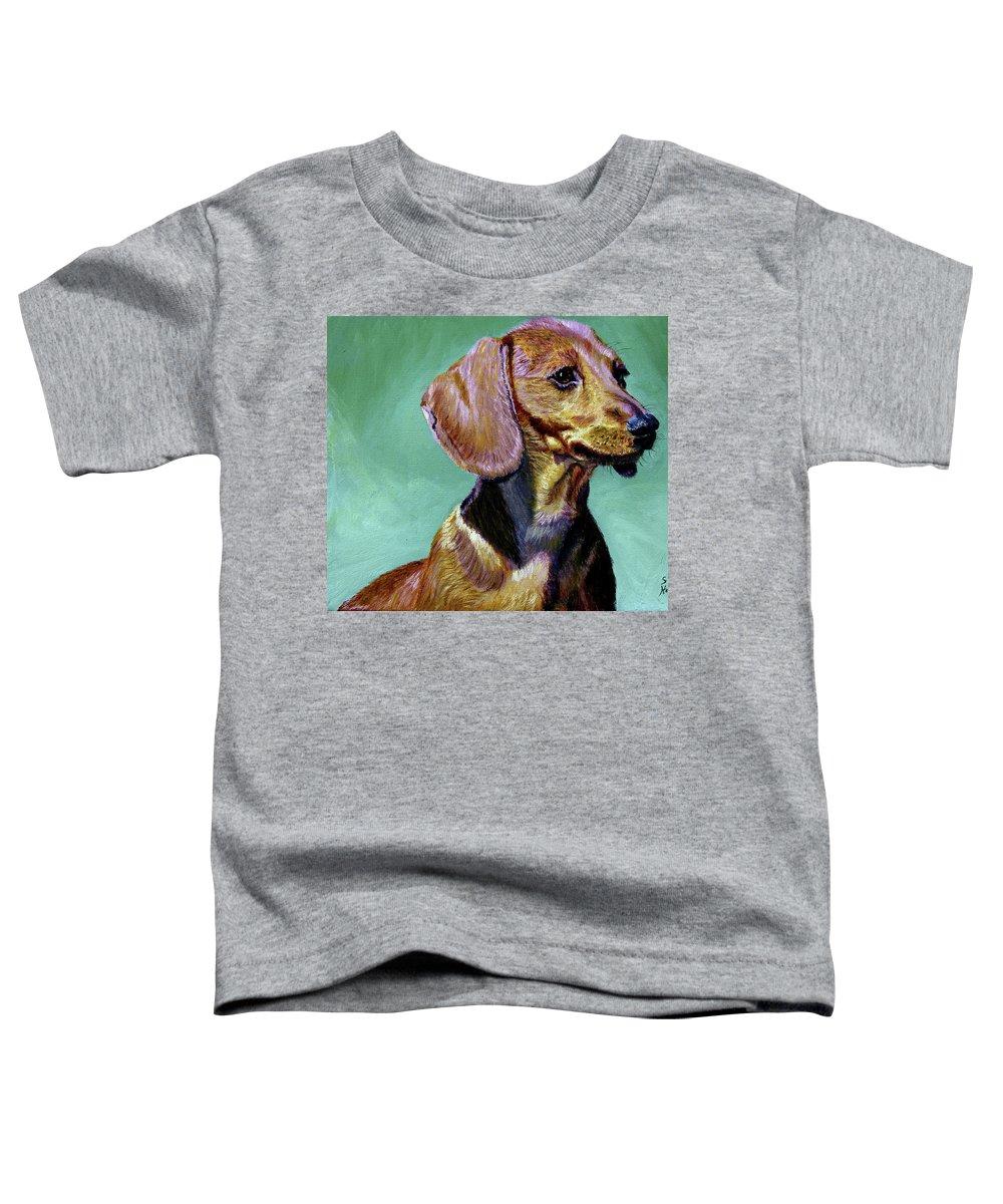 Daschund Toddler T-Shirt featuring the painting My Daschund by Stan Hamilton