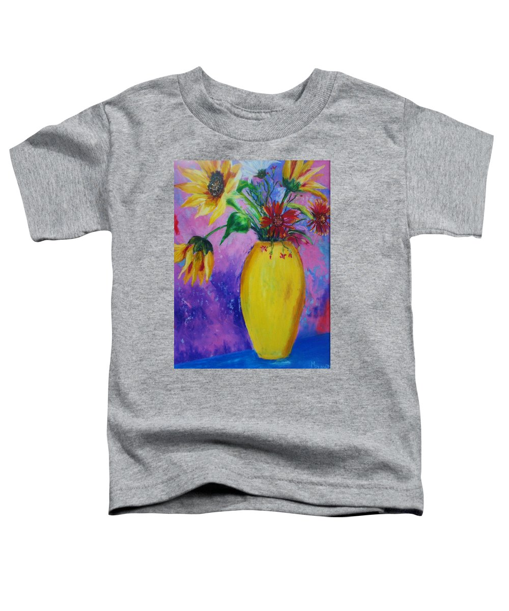 Sunflowers Toddler T-Shirt featuring the painting My Flowers by Melinda Etzold