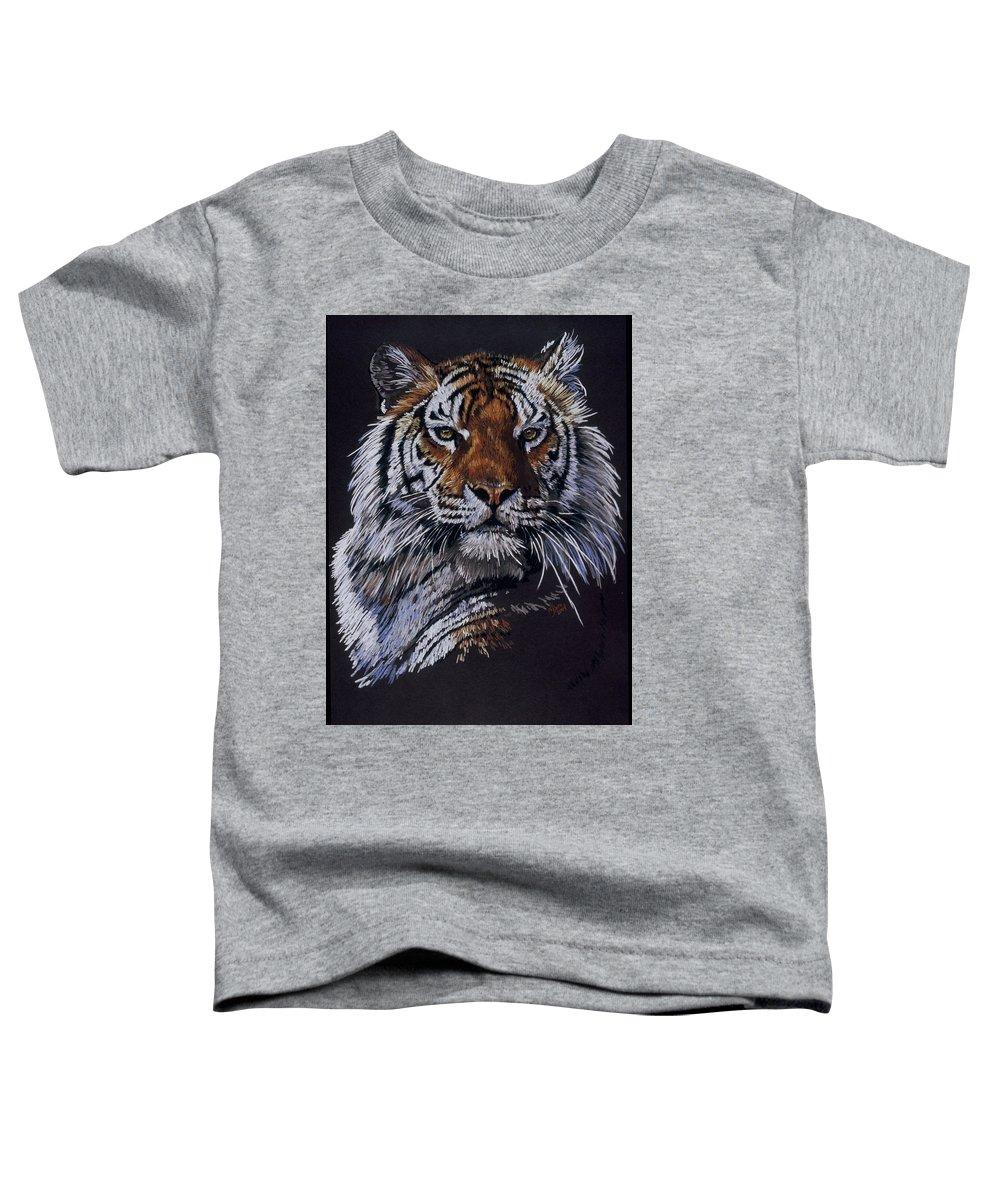 Tiger Toddler T-Shirt featuring the drawing Nakita by Barbara Keith