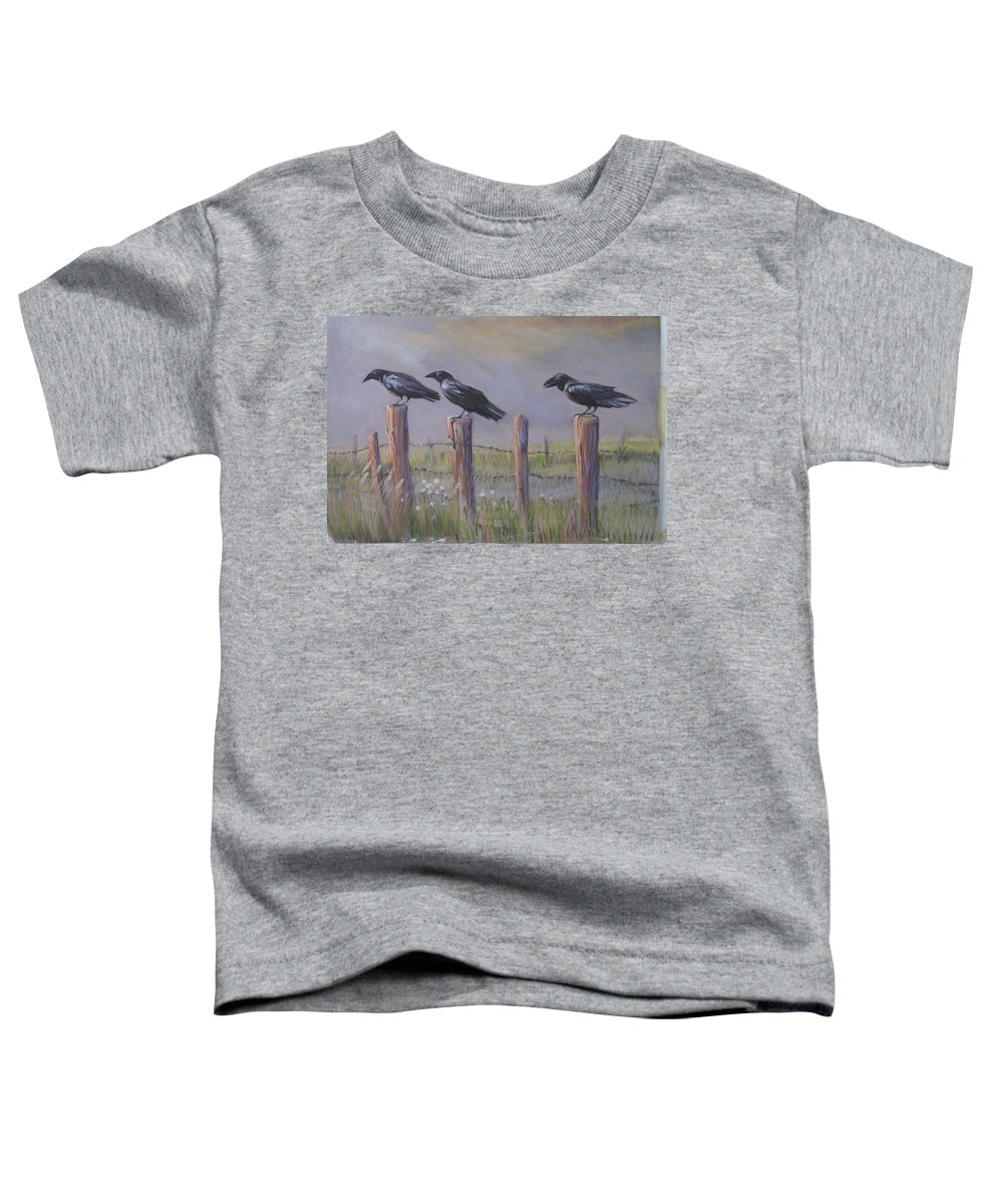 Crows Toddler T-Shirt featuring the painting Neighborhood Watch by Heather Coen