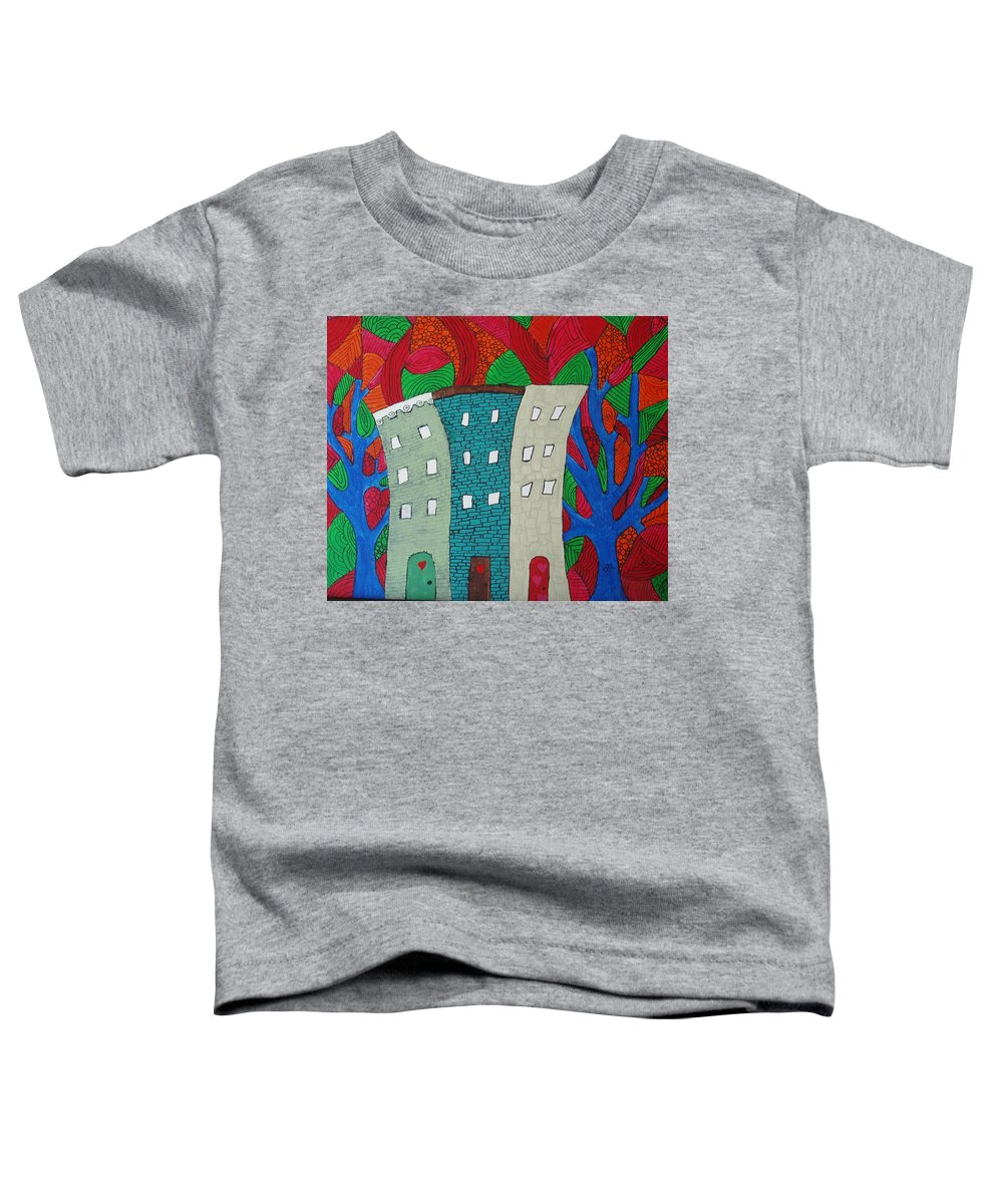 Houses Toddler T-Shirt featuring the painting Neighbors by Wayne Potrafka