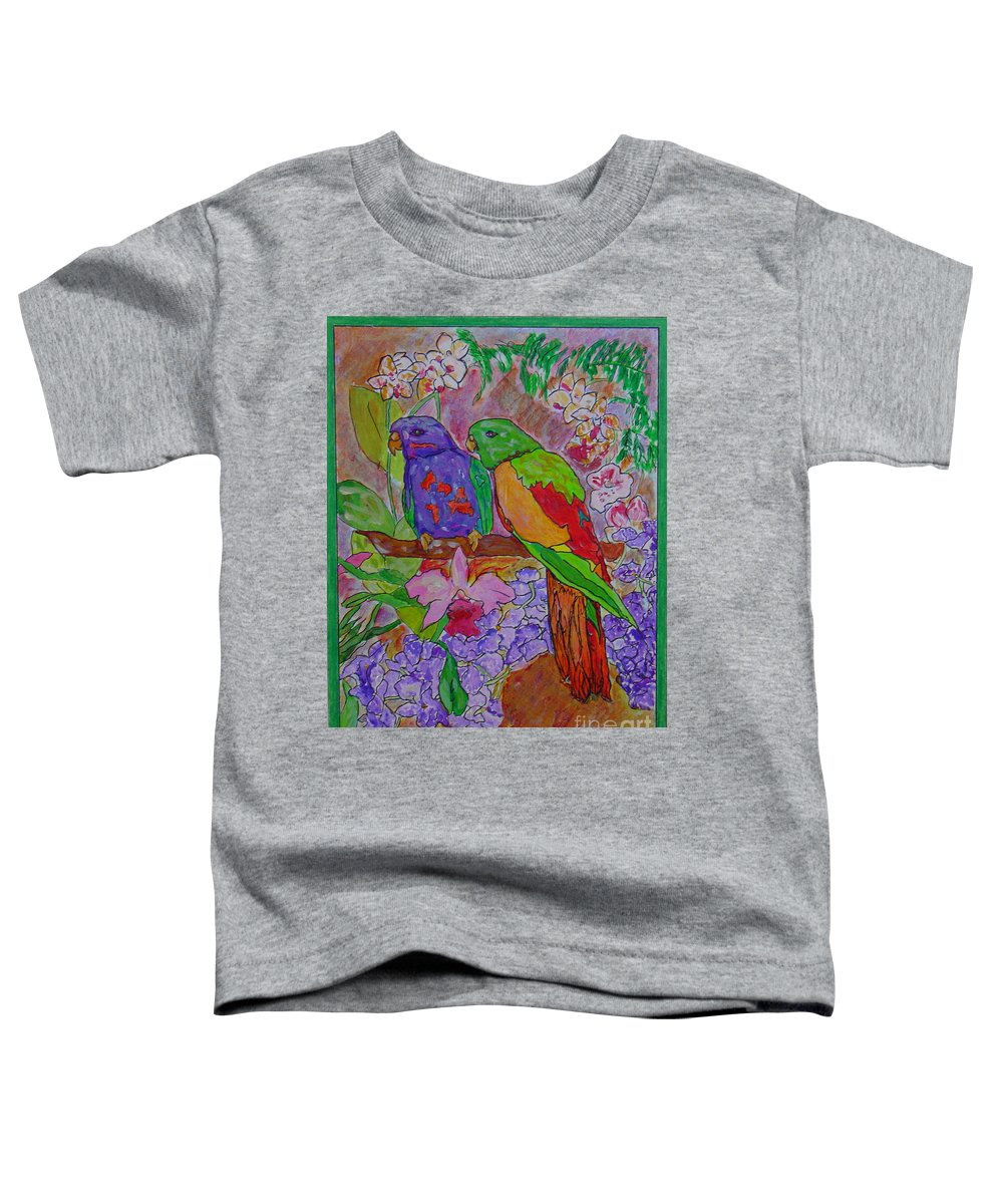 Tropical Pair Birds Parrots Original Illustration Leilaatkinson Toddler T-Shirt featuring the painting Nesting by Leila Atkinson