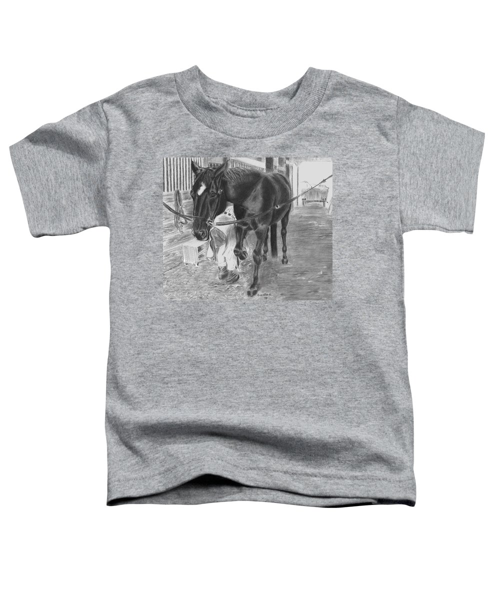 Horse Toddler T-Shirt featuring the drawing New Shoes by Quwatha Valentine