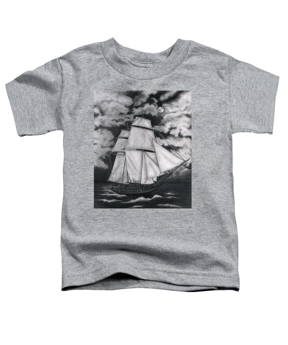 Ship Sailing Into The Northern Winds Toddler T-Shirt featuring the drawing Northern Winds by Larry Lehman