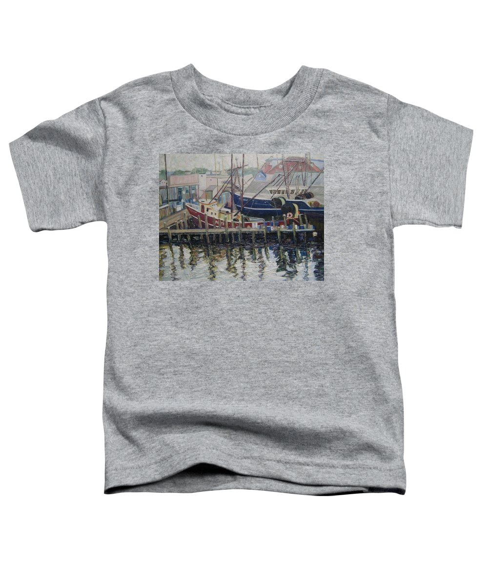 Boats Toddler T-Shirt featuring the painting Nova Scotia Boats At Rest by Richard Nowak