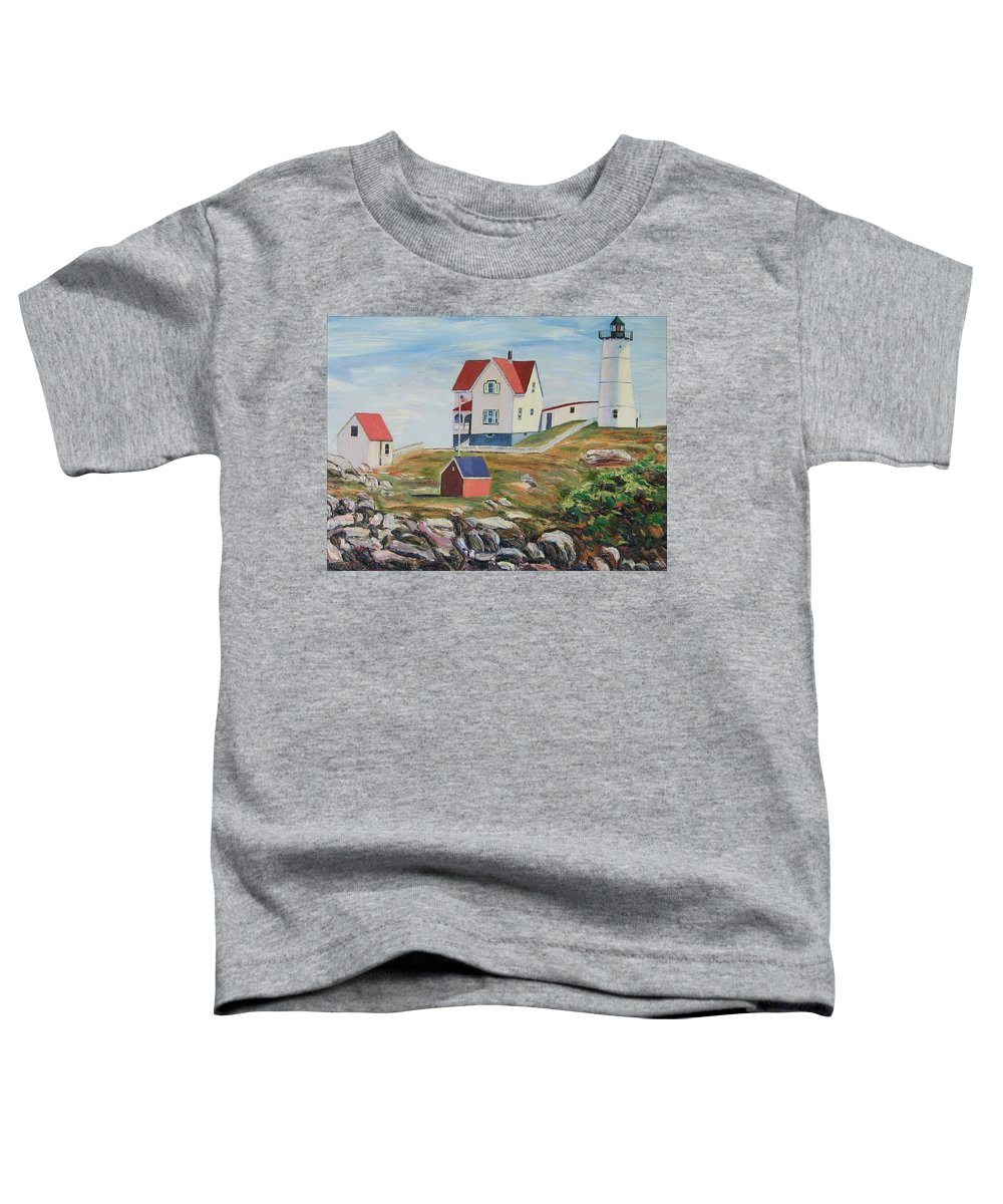Nubble Light House Toddler T-Shirt featuring the painting Nubble Light House Maine by Richard Nowak