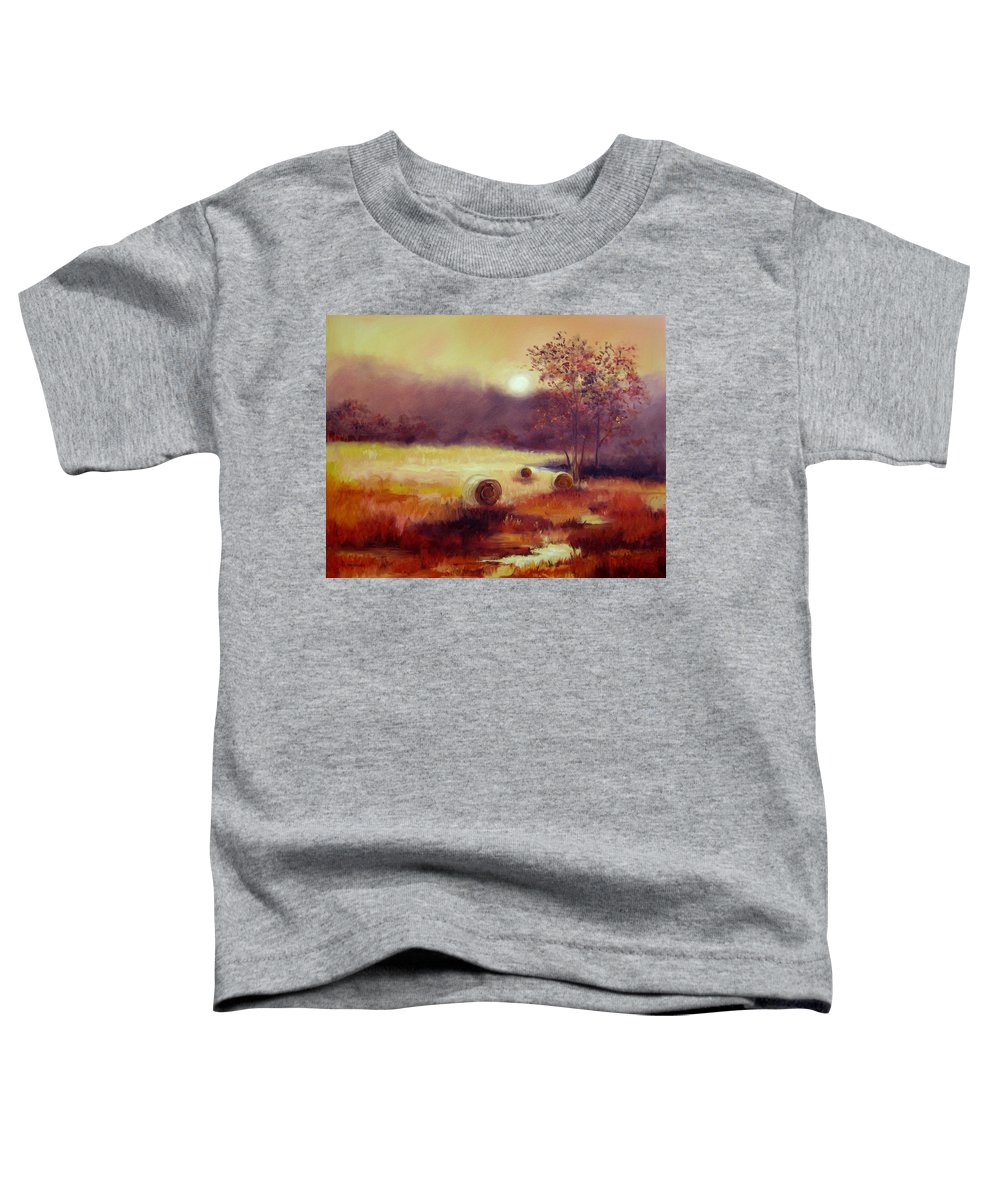 Fall Landscapes Toddler T-Shirt featuring the painting October Pasture by Ginger Concepcion