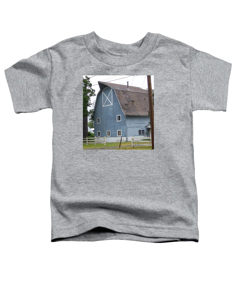 Old Toddler T-Shirt featuring the photograph Old Blue Barn Littlerock Washington by Laurie Kidd
