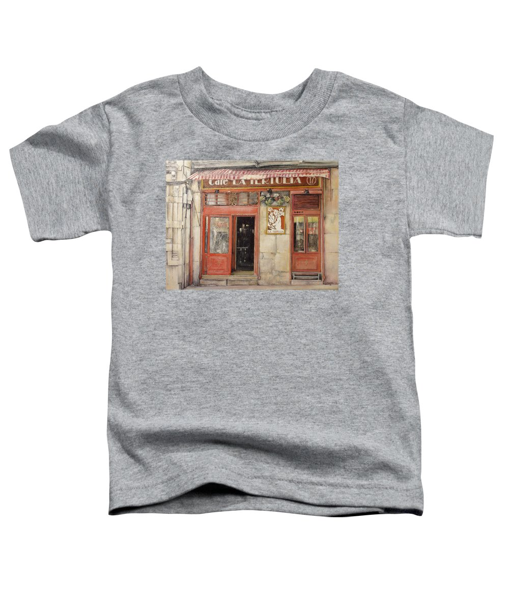 Cafe Toddler T-Shirt featuring the painting Old Cafe- Santander Spain by Tomas Castano