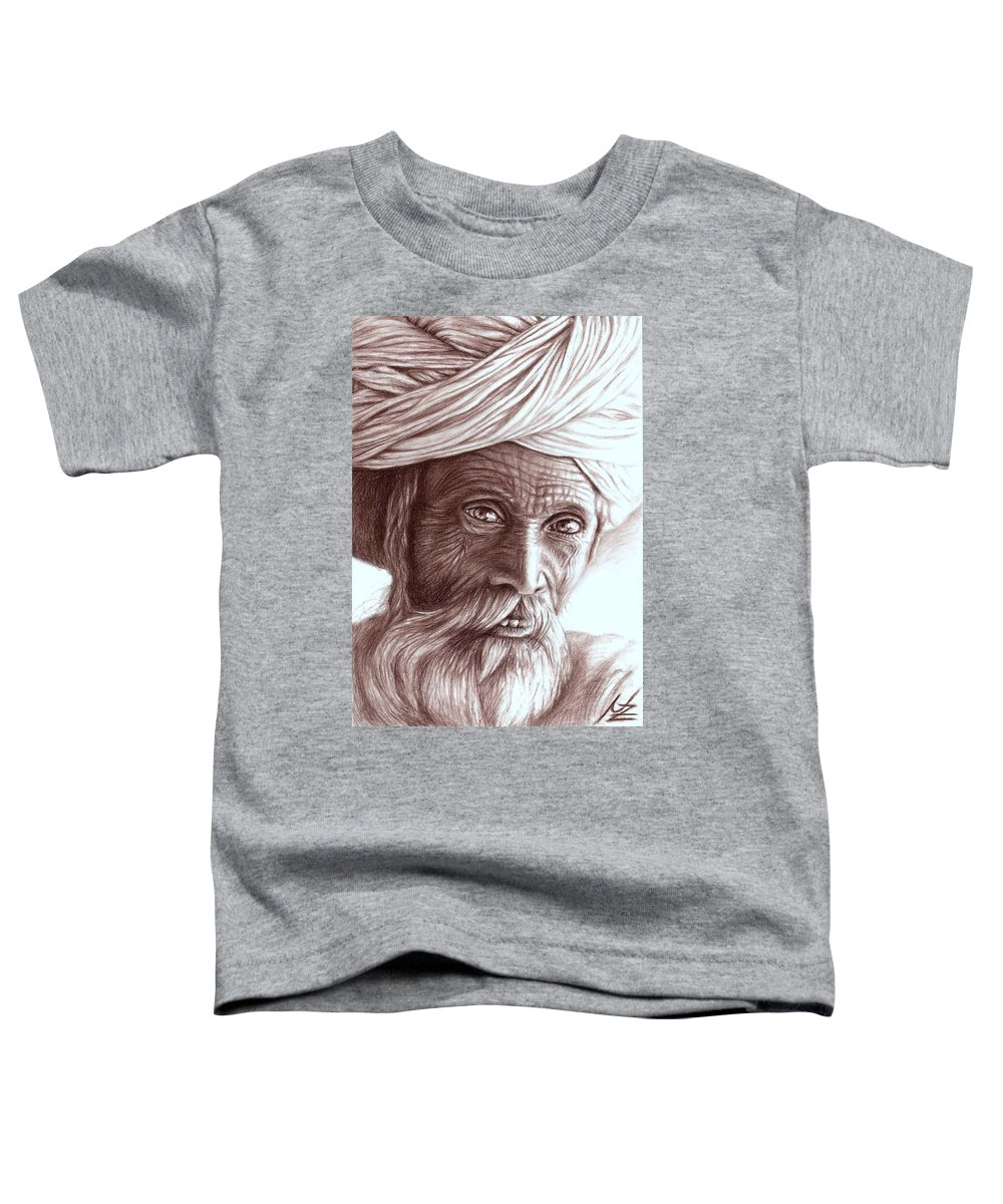 Man Toddler T-Shirt featuring the drawing Old Indian Man by Nicole Zeug