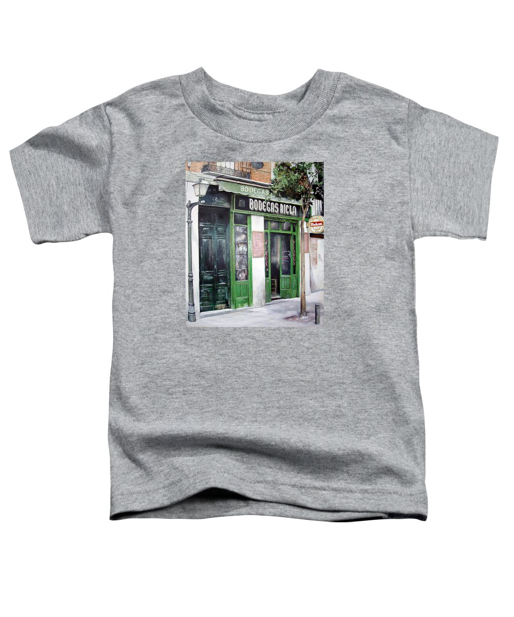 Bodegas Toddler T-Shirt featuring the painting Old Tavern-madrid by Tomas Castano
