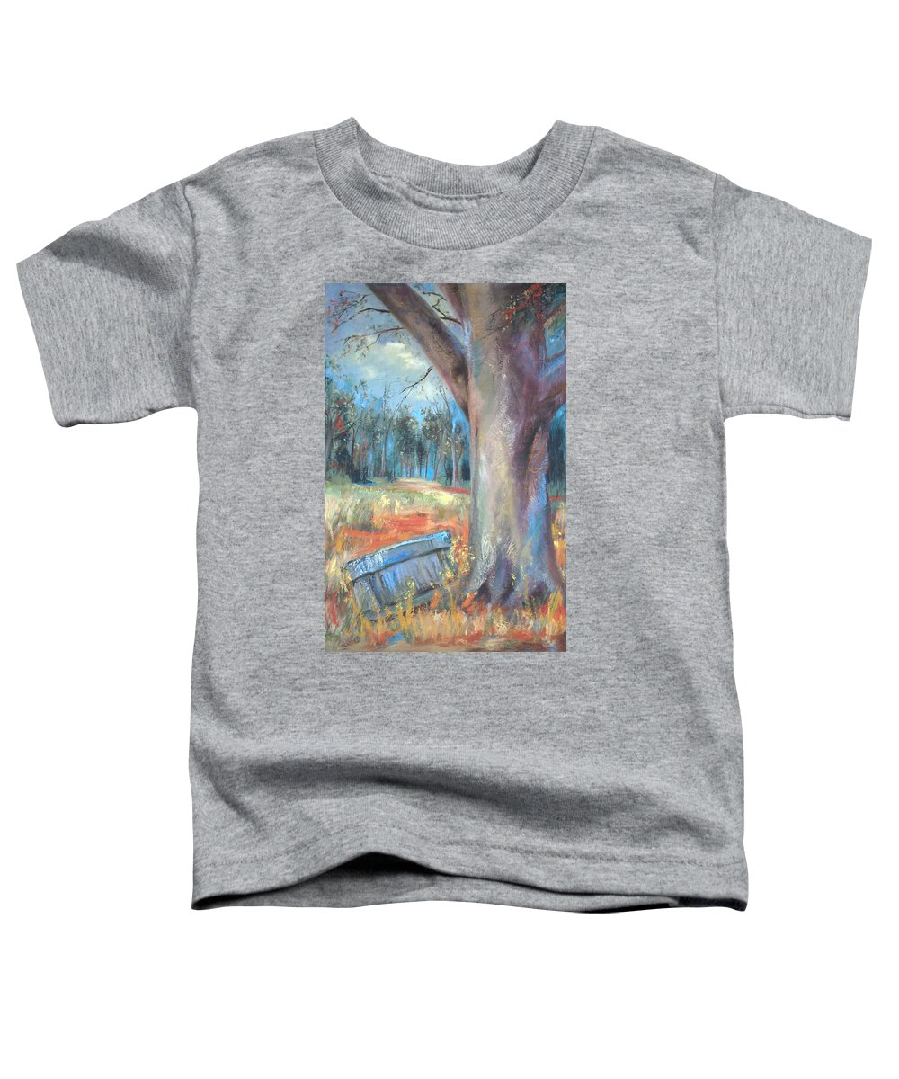 Country Scenes Toddler T-Shirt featuring the painting Old Times by Ginger Concepcion