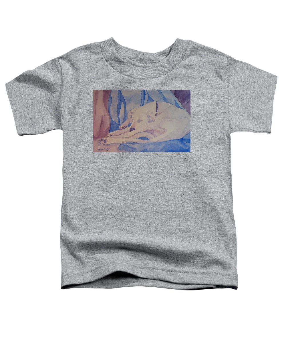 Dog Toddler T-Shirt featuring the painting On Fallen Blankets by Jenny Armitage