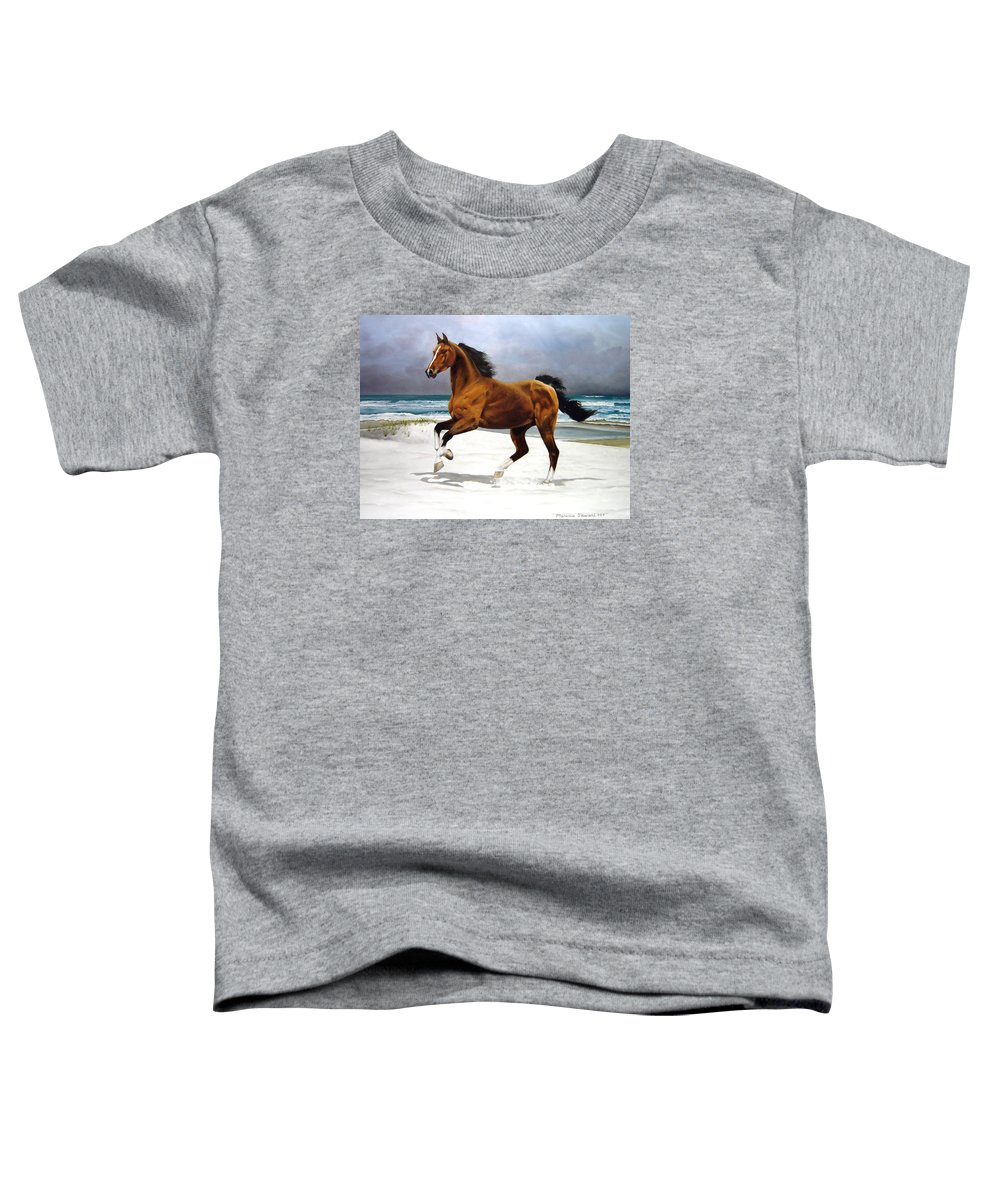 Horse Toddler T-Shirt featuring the painting On The Beach by Marc Stewart