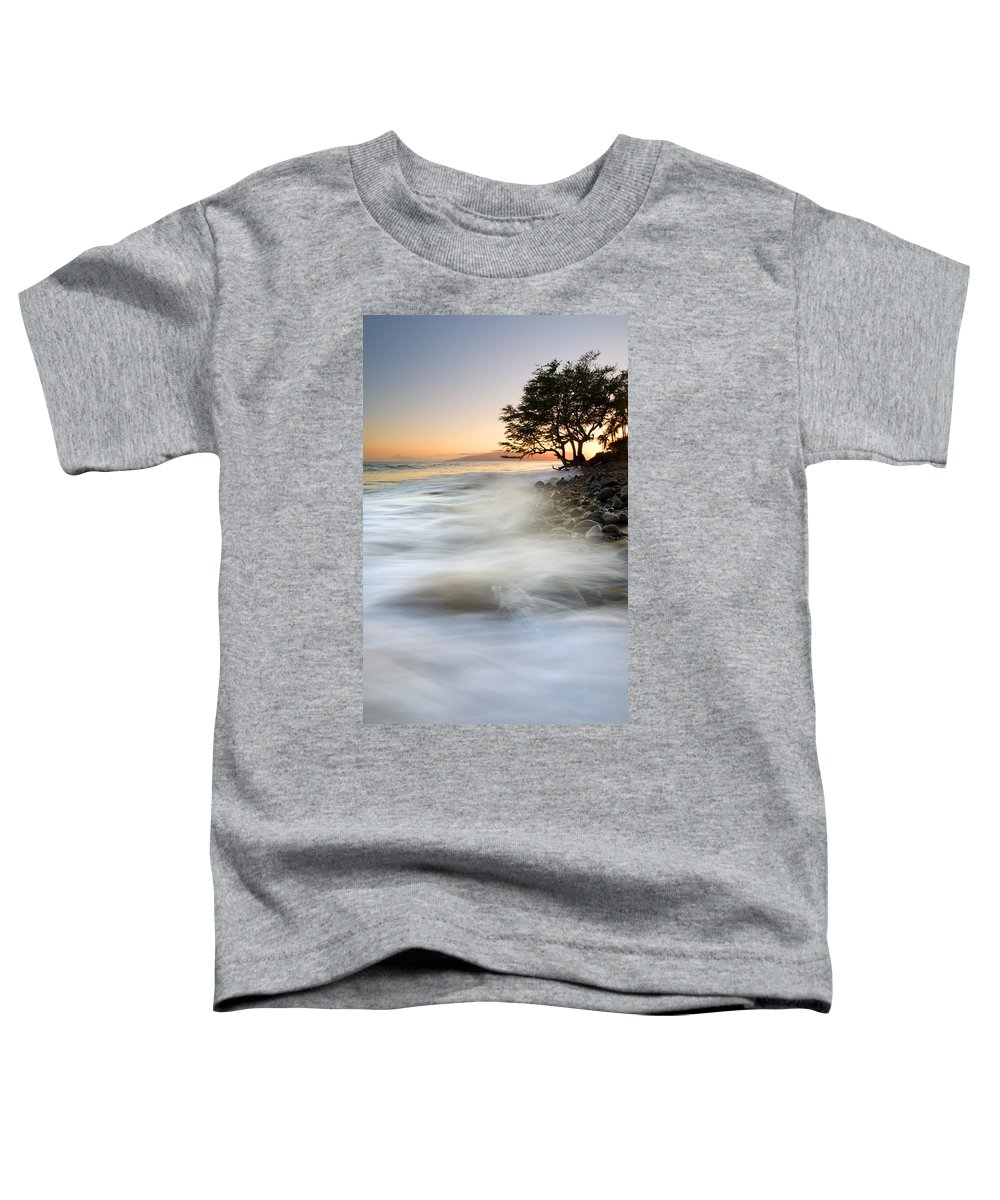 Sunset Toddler T-Shirt featuring the photograph One Against The Tides by Mike Dawson