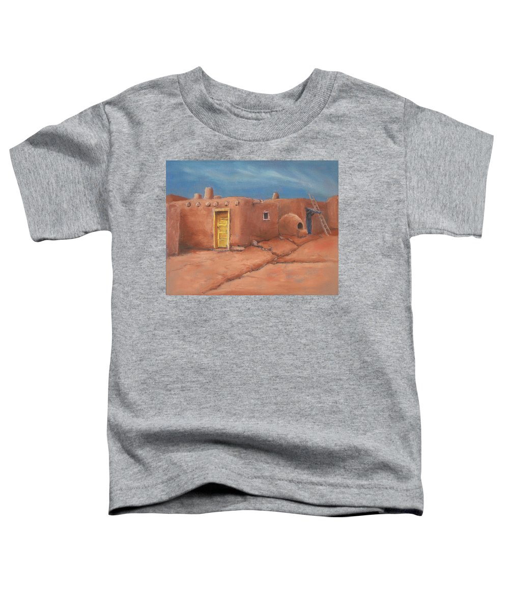 Taos Toddler T-Shirt featuring the painting One Yellow Door by Jerry McElroy