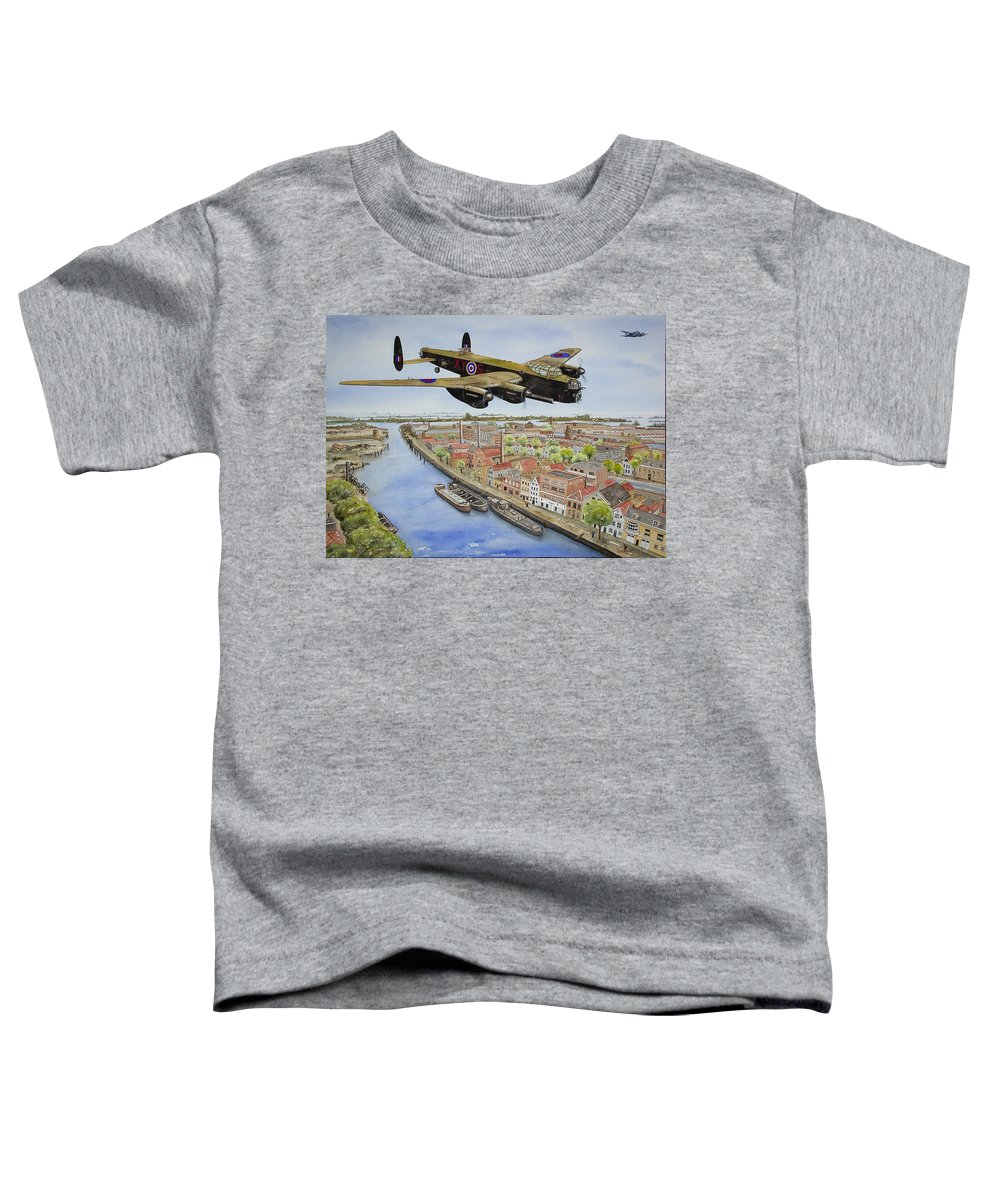 Lancaster Bomber Toddler T-Shirt featuring the painting Operation Manna II by Gale Cochran-Smith