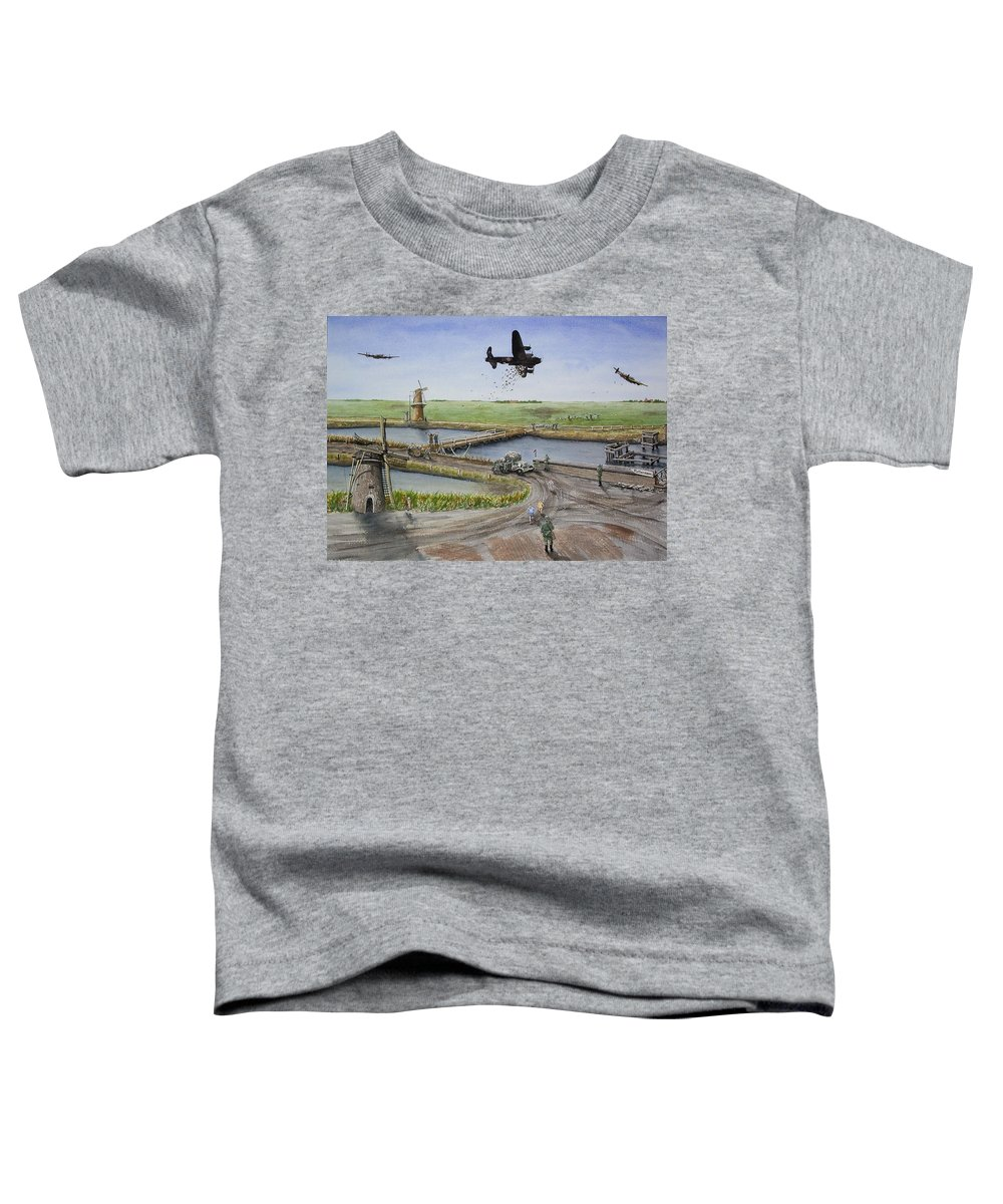 Lancaster Bomber Toddler T-Shirt featuring the painting Operation Manna IIi by Gale Cochran-Smith