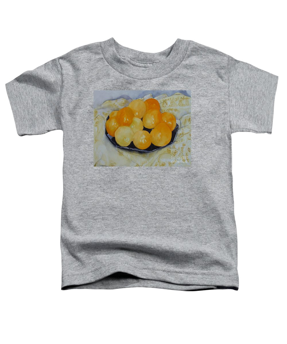 Still Life Watercolor Original Leilaatkinson Oranges Toddler T-Shirt featuring the painting Oranges by Leila Atkinson