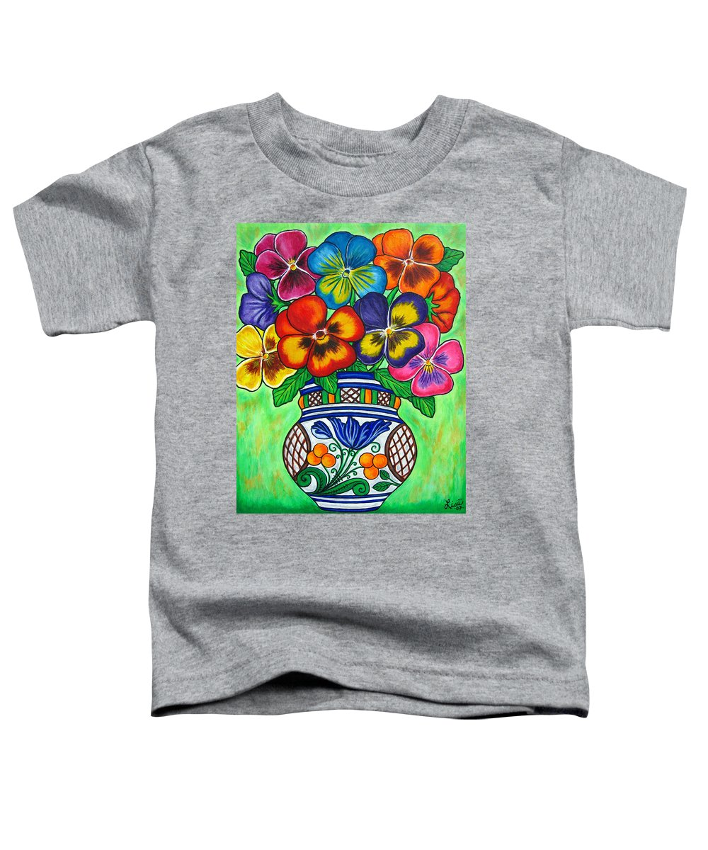Flower Toddler T-Shirt featuring the painting Pansy Parade by Lisa Lorenz
