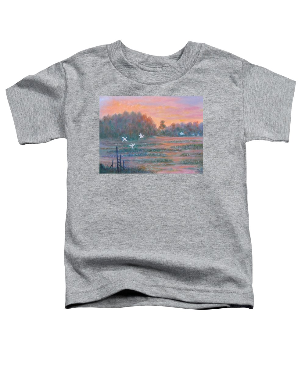 Low Country; Egrets; Sunset Toddler T-Shirt featuring the painting Pawleys Island by Ben Kiger