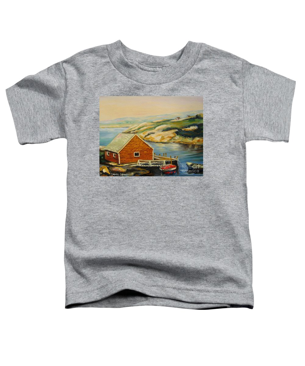 Peggy's Cove Harbor View Toddler T-Shirt featuring the painting Peggys Cove Harbor View by Carole Spandau
