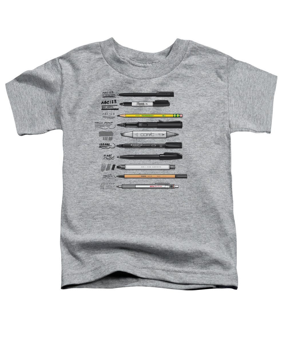 Line Drawing Mixed Media Toddler T-Shirts