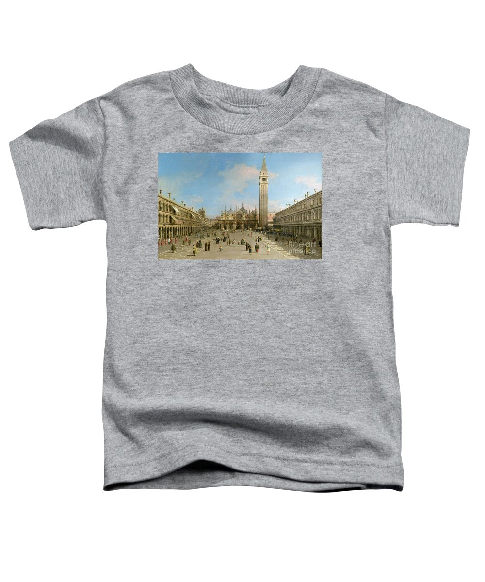 Canaletto Toddler T-Shirt featuring the painting Piazza San Marco Looking Towards The Basilica Di San Marco by Canaletto