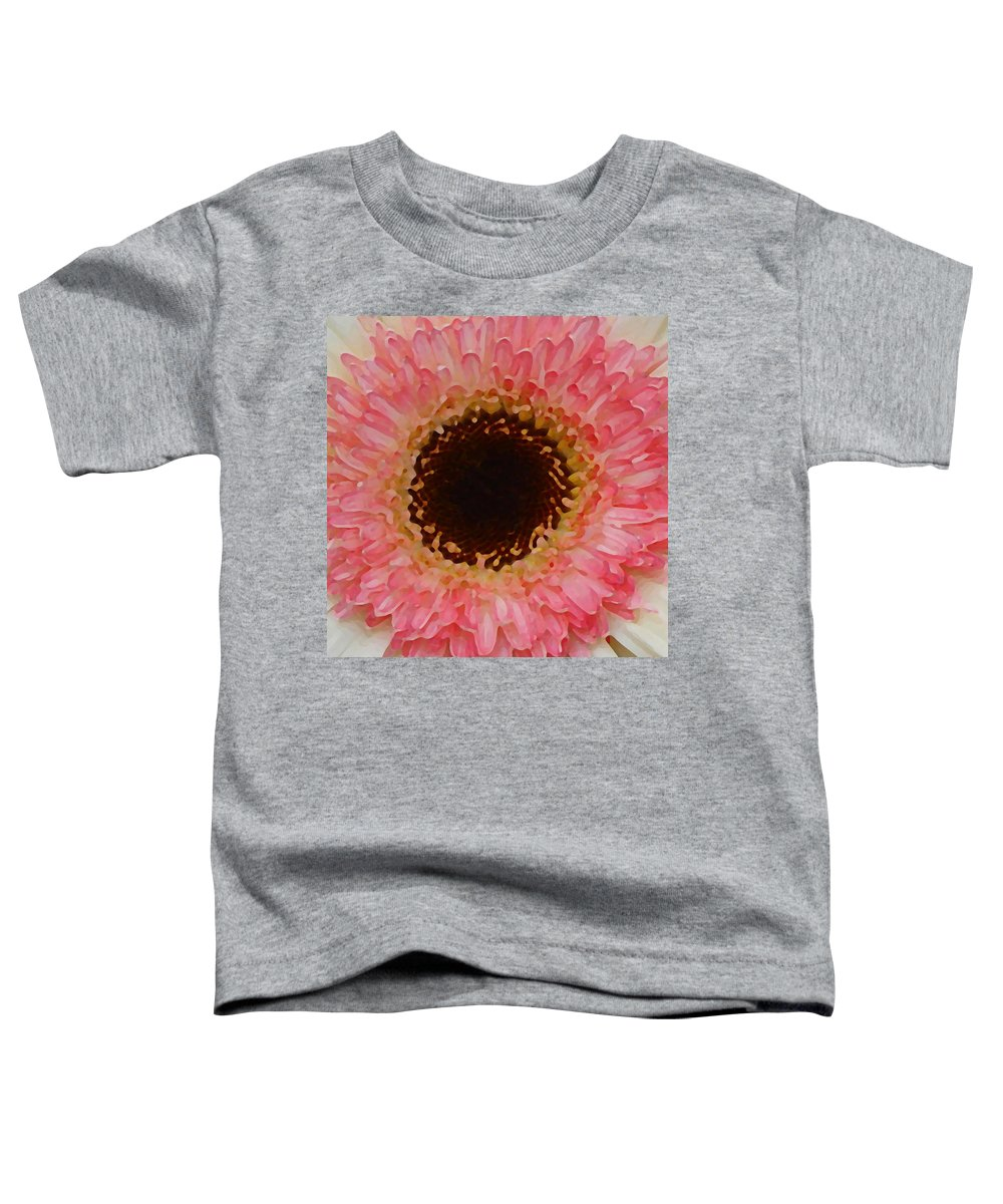 Daisy Toddler T-Shirt featuring the painting Pink And Brown Gerber Center by Amy Vangsgard