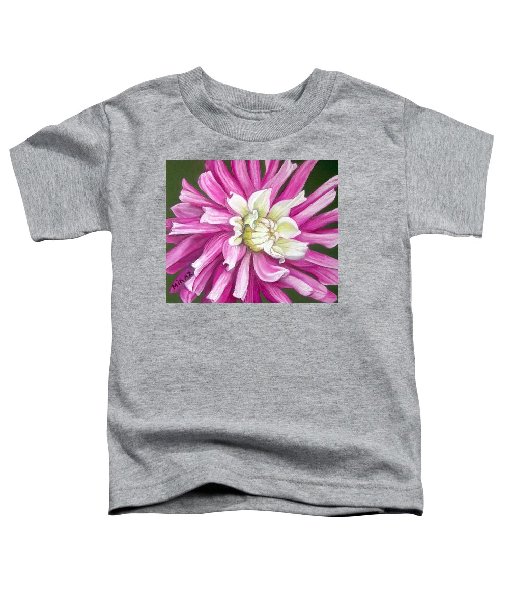 Floral Toddler T-Shirt featuring the painting Pink Petal Blast by Minaz Jantz