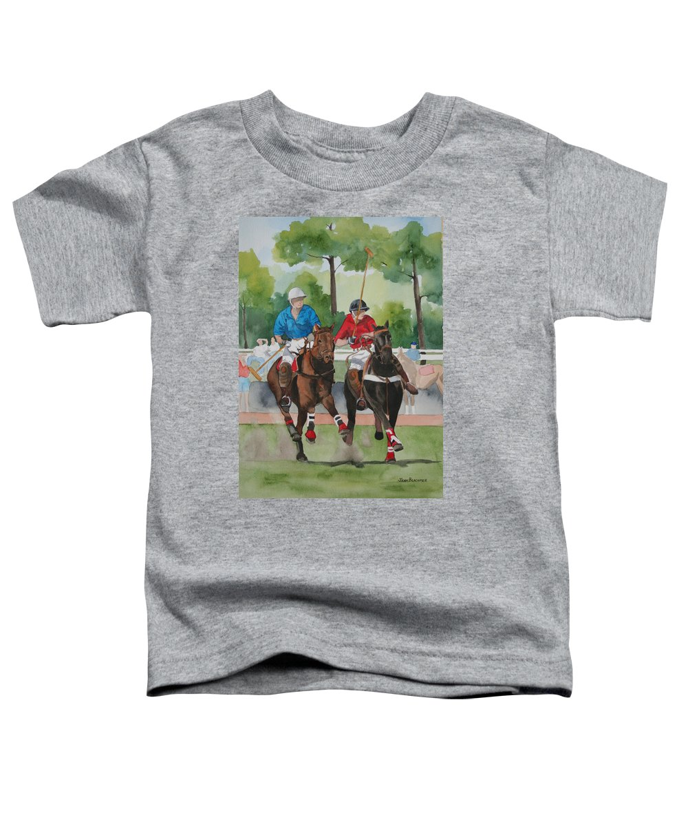 Polo Toddler T-Shirt featuring the painting Polo In The Afternoon 2 by Jean Blackmer