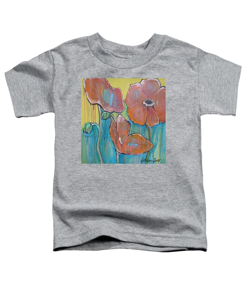 Pop Art Toddler T-Shirt featuring the painting Poppies 3 by Laurie Maves ART