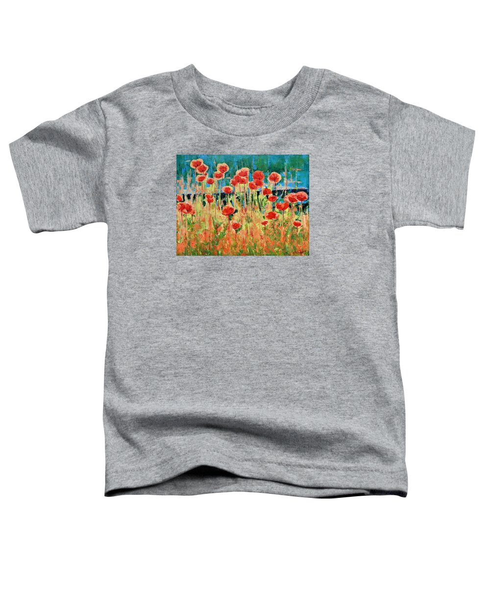 Poppies Toddler T-Shirt featuring the painting Poppies And Traverses 2 by Iliyan Bozhanov