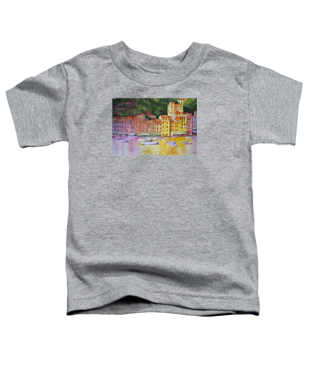 Italy Toddler T-Shirt featuring the painting Portofino Afternoon by Karen Stark