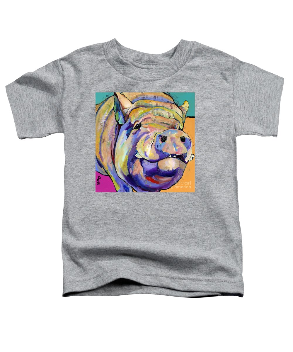 Pig Prints Toddler T-Shirt featuring the painting Potbelly by Pat Saunders-White