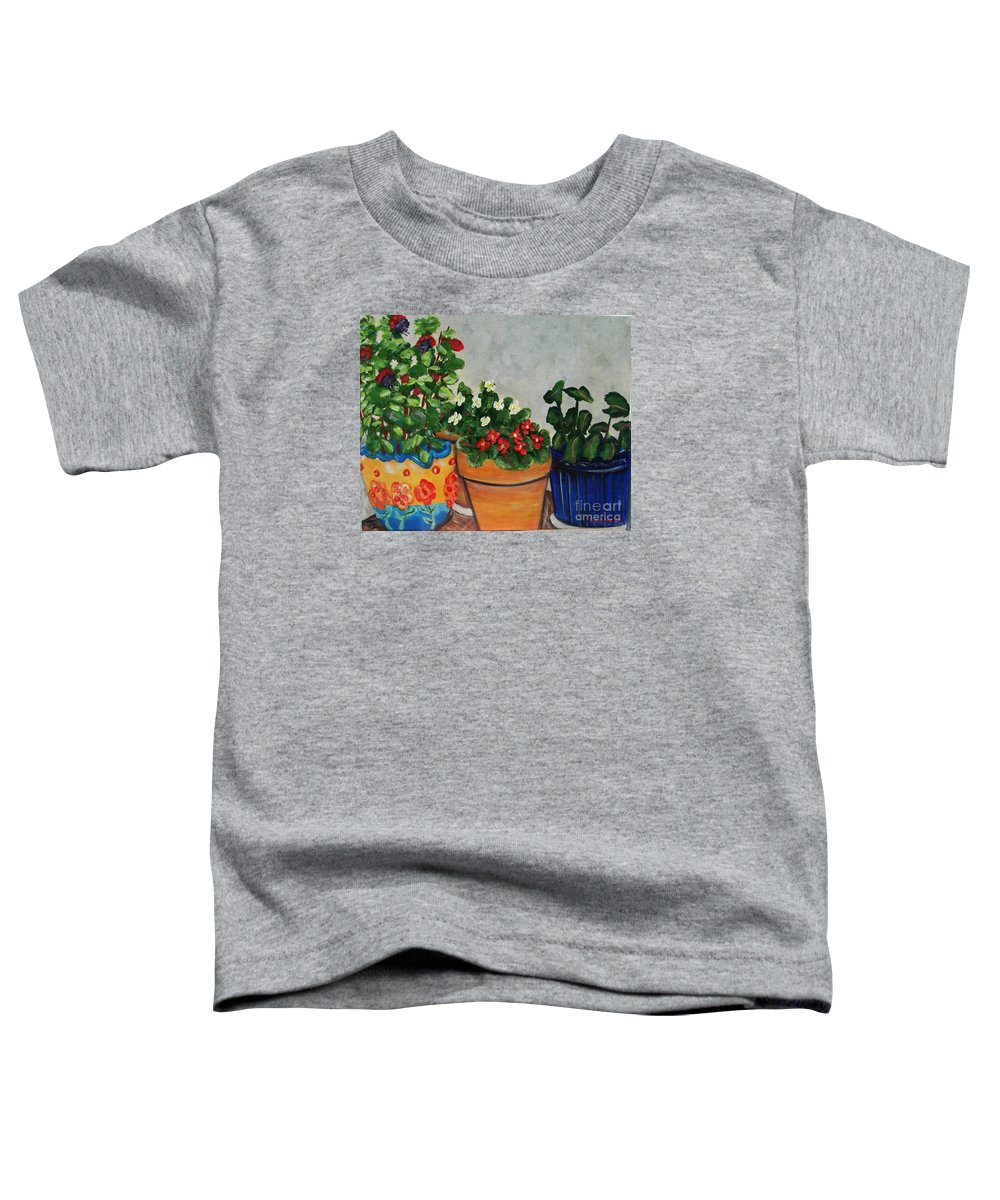 Ceramic Pots Toddler T-Shirt featuring the painting Pots Showing Off by Laurie Morgan