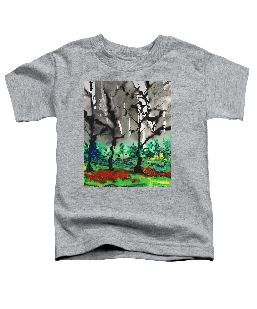 Forest Toddler T-Shirt featuring the painting Primary Forest by Nadine Rippelmeyer