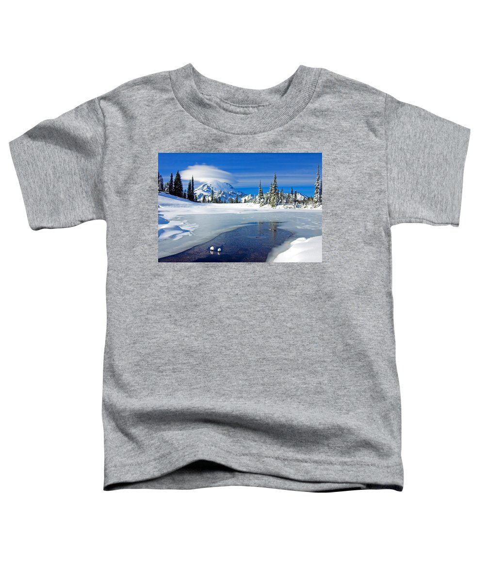 Rainier Toddler T-Shirt featuring the photograph Pristine by Mike Dawson