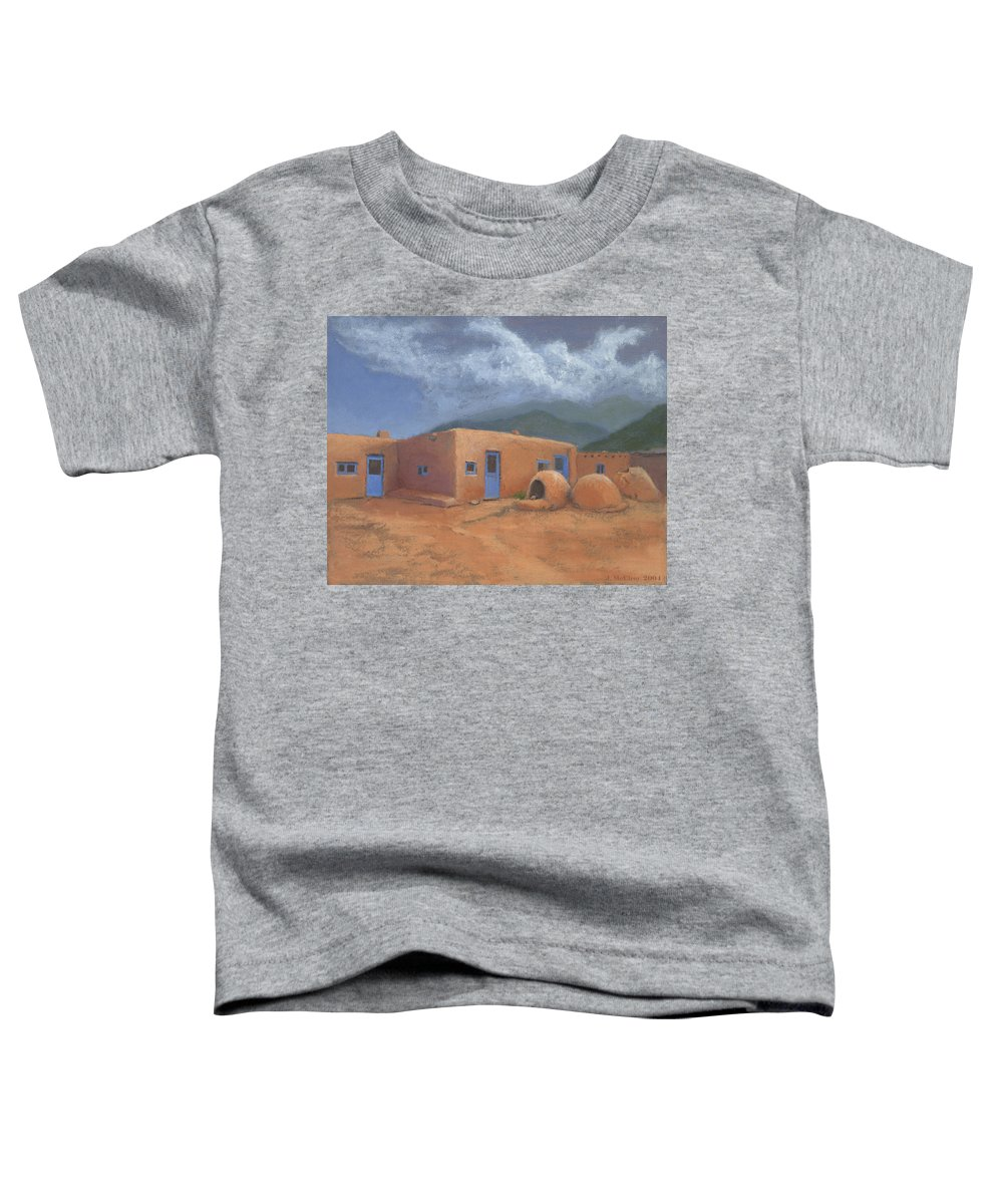 Taos Toddler T-Shirt featuring the painting Puertas Azul by Jerry McElroy