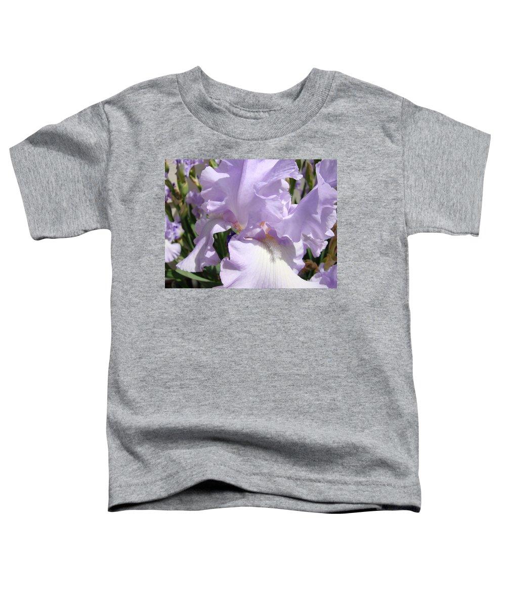 �irises Artwork� Toddler T-Shirt featuring the photograph Purple Irises Artwork Lavender Iris Flowers 13 Botanical Floral Art Baslee Troutman by Baslee Troutman
