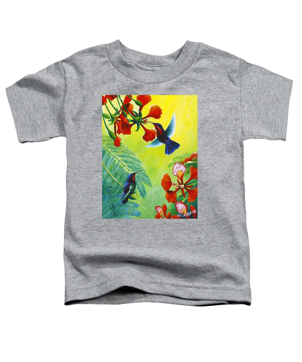 Chris Cox Toddler T-Shirt featuring the painting Purple-throated Caribs And Flamboyant by Christopher Cox