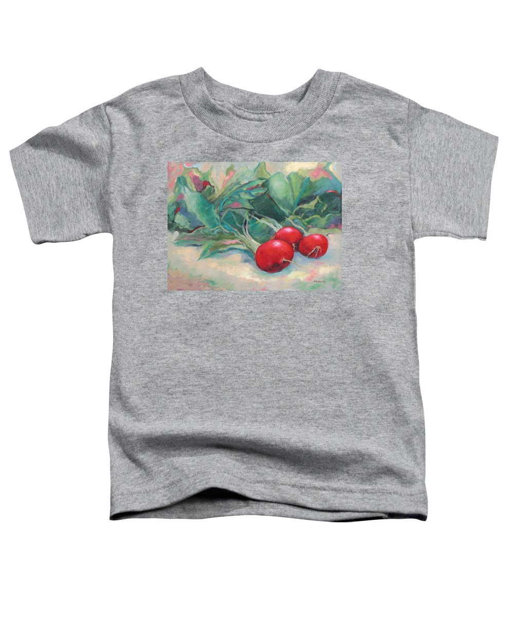 Radishes Toddler T-Shirt featuring the painting Radishes by Ginger Concepcion