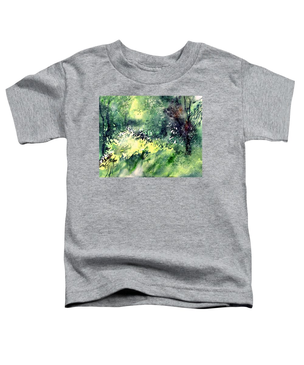 Landscape Watercolor Nature Greenery Rain Toddler T-Shirt featuring the painting Rain Gloss by Anil Nene