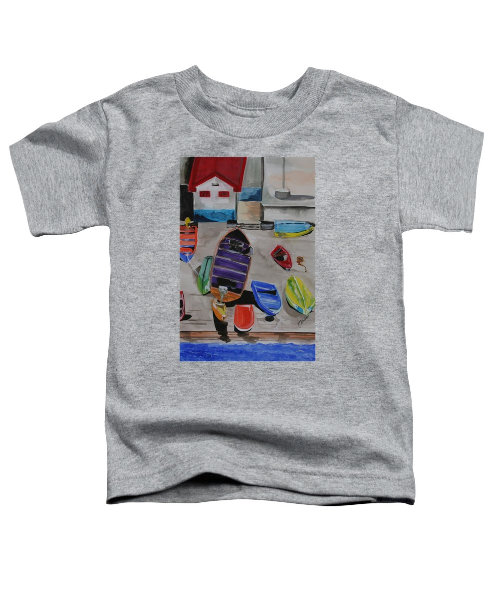 Boats Toddler T-Shirt featuring the painting Rainbow On The Dock by Jean Blackmer