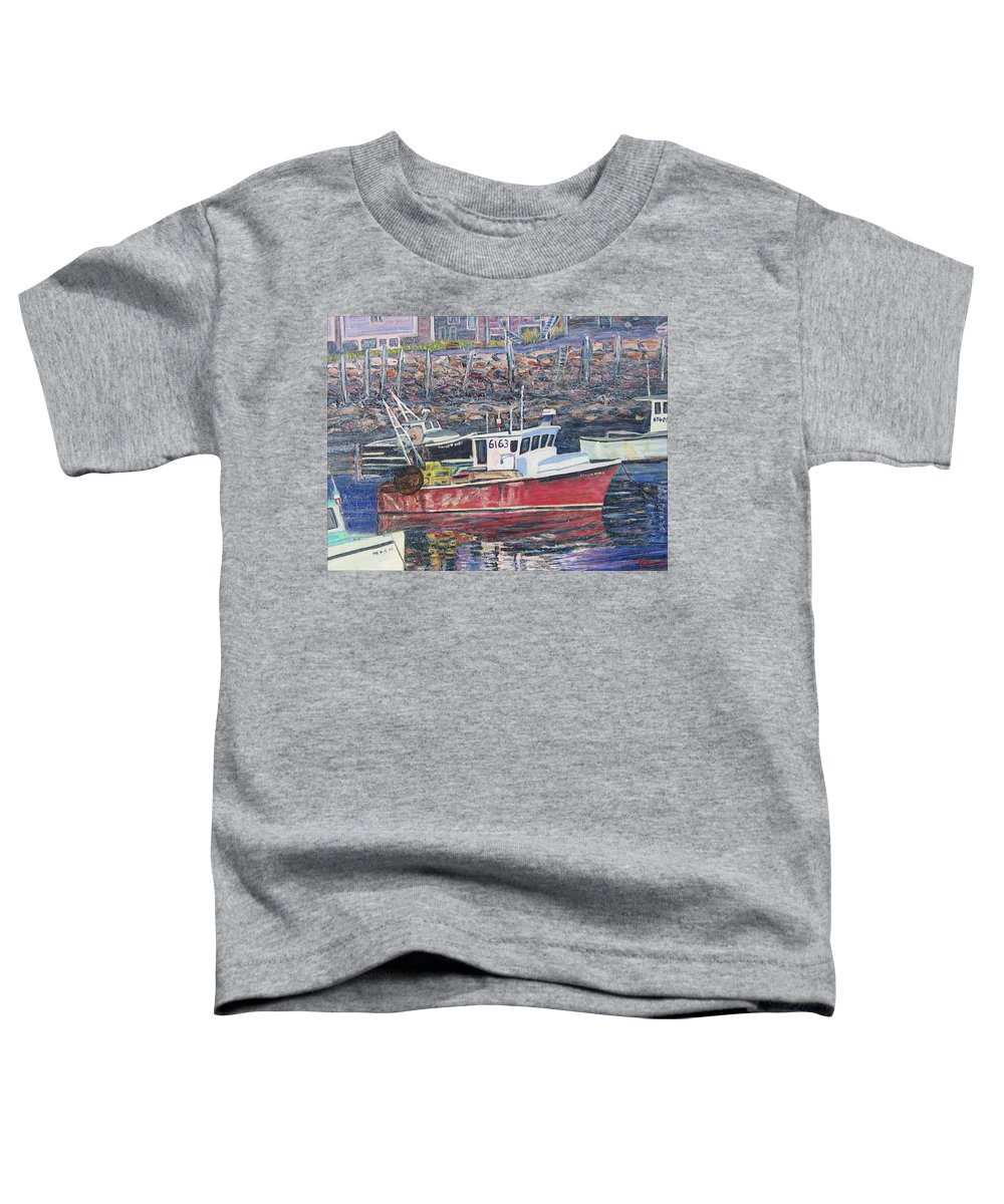 Boat Toddler T-Shirt featuring the painting Red Boat Reflections by Richard Nowak