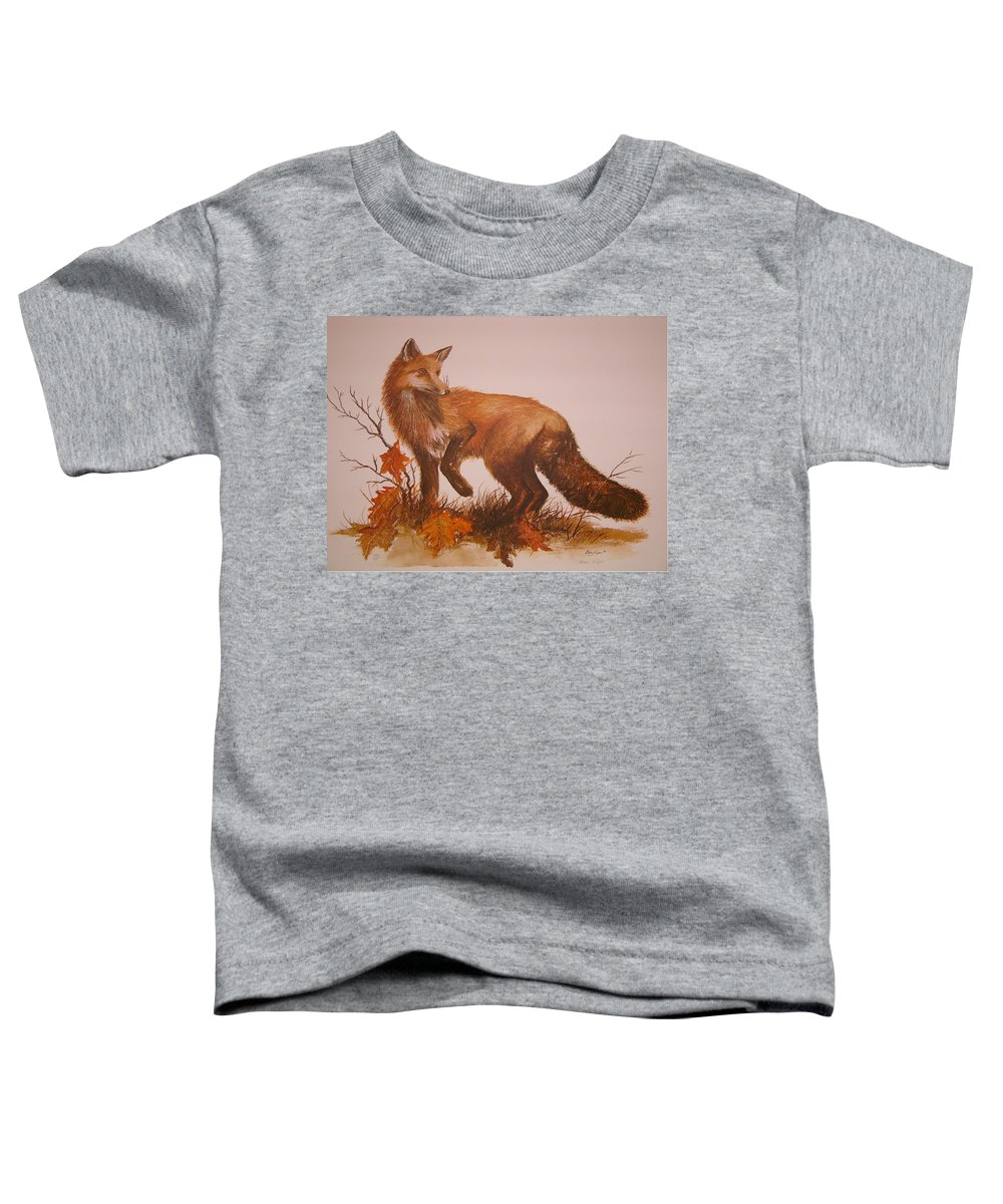 Nature Toddler T-Shirt featuring the painting Red Fox by Ben Kiger